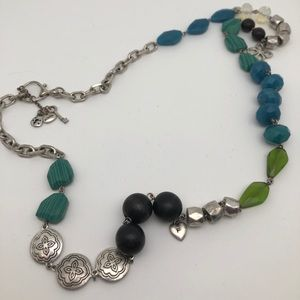 Fossil Faux Turquoise Green & Blk SilverNecklace